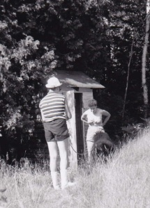 me and aunt jeanne at the outhouse