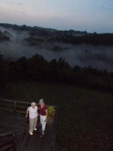 Mombo and Joan on a foggy night