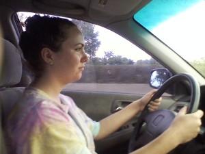 Sophia behind the wheel