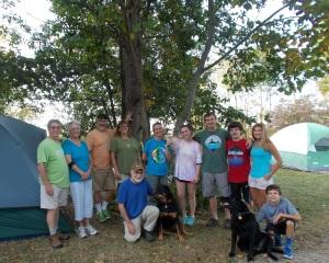 1st row: Rocco with Osage, Jacob with Cooper. Standing: Bud, Pat, Bob, Trish, Mary, Sophia, Joe, Josh, Suzanne